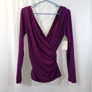 FREE PEOPLE Plum Faux Wrap Shirt Top Long Sleeves